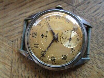 Vintage Used Chromed VERDAL Manual Watch. Cal. Felsa 391. For parts