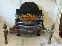 Retro Electric Fire with amber crystals and flame flicker. 3 Kw