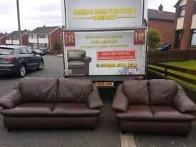 brown leather 3+2 sofa