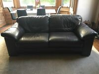 2 Brown Leather Sofas with Stitching Detail