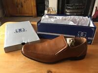 Brown leather slip on shoes UK 10