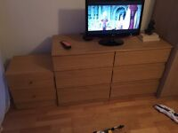 Two chest of 3 drawers and one bedside table with drawers