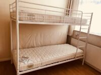 WHITE BUNK BED WITH TWO QUALITY MATTRESS