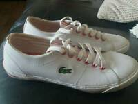 Lacoste white leather size 3