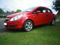 RED VAUXHALL CORSA NEW SHAPE, 45K MILES, TOUCHSCREEN BLUETOOTH, DVD PLAYER, DOUBLE DIN INSTALLED