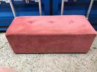Pink velvet/Draylon bedding box/ottoman FREE DELIVERY PLYMOUTH AREA