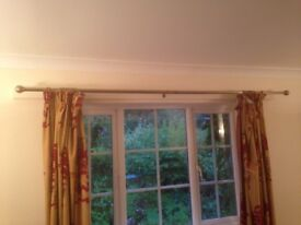 Two pairs of curtains in gold and burgundy