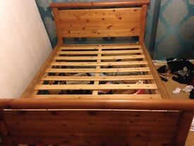Double pine bed frame with mattress