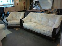 1x 2 seater settee & chair with pattern and wooden surround in excellent condition only £125.