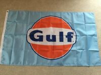 Gulf oil flag Ford GT40 Porsche 917 workshop flag banner