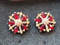 Stunning Red earrings with diamond set in gold studs - perfect for a special occasion £15