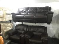 Dark brown leather 3 11 sofa set