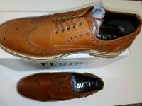 New Fluid Men's Brown Lace up Leather Formal Brogues Shoes UK Size 8