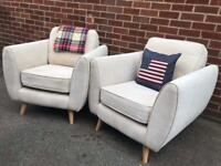 Pair Cream Scandinavian Armchairs Accent Chairs EXCELLENT CONDITION