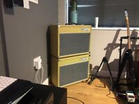 1994 Laney all valve GC30V 1x12 amp and 2x10 extension cabinet with transit cases - in fender tweed!