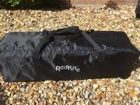 Red Kite Travel Cot (black) complete with John Lewis Mattress Enhancer