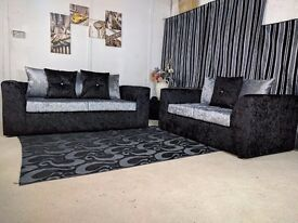 ON SPECIAL OFFER BRAND NEW JULIE CRUSH VELVET CORNER OR 3+2 SOFA ** 1 YEAR WARRANTY **