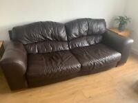2 x large dark brown leather DFS Sofas £100 each collect Patcham