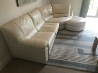 Natuzzi Cream Leather Corner Sofa