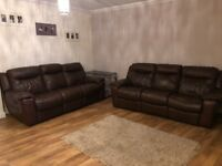 2x 3 seater leather recliner sofas