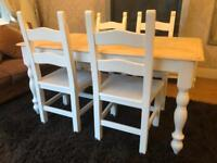 REDUCED - 5ft Shabby Chic Chunky Farmhouse Oak Table and 4 Lovely Chairs