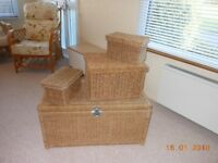 Set of 4 Seagrass Storage Chests with Lids (Large, Medium & 2 Small)