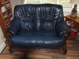 Solid Wood and Leather Sofa