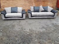 Very nice Brand New black and grey cord 3 and 2 seater sofa suite.small mark at the back.can deliver