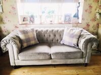 Stunning silver/grey three and two seater vintage style Debenhams Chesterfield sofas