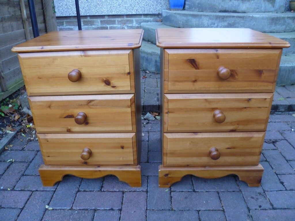 Pine bedside chests/cabinets-PAIR