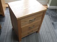 Solid Oak 3 Drawer Bedside Cabinet Collection Only Essex SS6