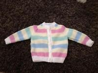 Baby girls cardigan brand new hand knitted multicoloured