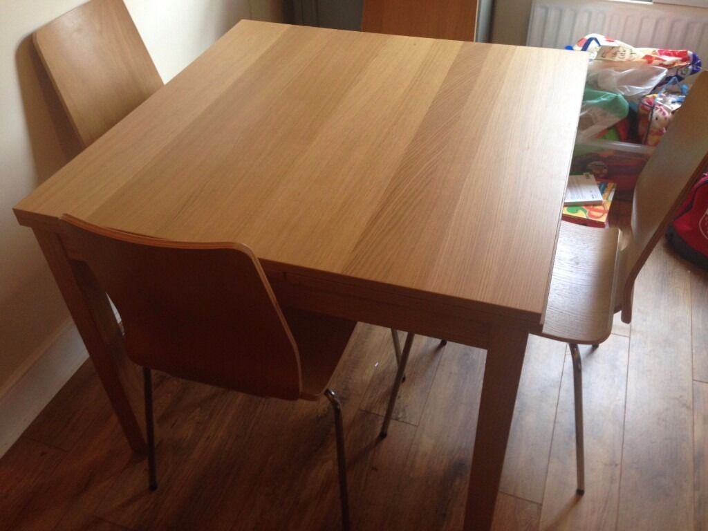 Ikea Bjursta Extendable Dining Room Table And 4 Chairs