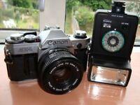 Canon AE1 35mm Film Camera+ Flashgun, VGC