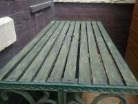 Patio table with cast iron ends for restoration