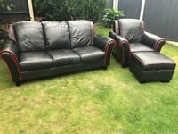 Dfs black leather 3 piece sofa suite excellent condition can deliver