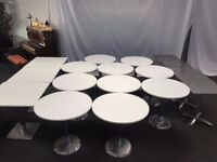 17 Restaurant / cafe / coffee shop white tables & metallic tables job lot.