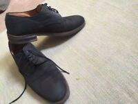 Russell Bromley Suede Shoes - Dark Navy Blue, Size 8.
