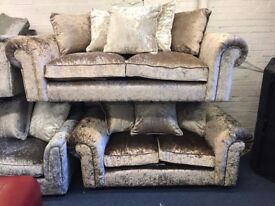 LUXURIOUS CRUSHED VELVET LAWRENCE LLEWELLYN BOWEN SCARPA 3 AND 2 SEATER SOFA SET THREE PLUS TWO