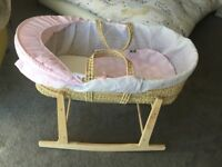 Pink dots Moses basket on the rocking stand with fitted sheet