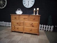 SOLID PINE FARMHOUSE EXTRA LARGE CHEST OF DRAWERS 7 DEEP DRAWERS WITH DOVETAILS PROPER CHUNKY ONE