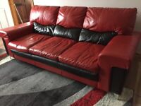 Leather 3+2 Red and Black Sofa with FREE RUG