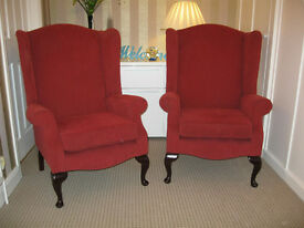 Pair wing back chairs by Jade in very good condition