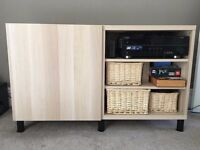 IKEA Besta Shelf Unit with 1 door and 3 open drawers