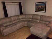 Large Corner Sofa;Professionally cleaned;Roman Silver;1 recliner; wipeable synthetic material