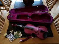 Purple Archetto full size violin and extras including matching shoulder rest, bow & case.