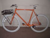 "No Logo Orange and White Single Speed/Fixie/Flip-Flop 23"" Bike (will deliver)"