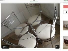 Round Glass & Chrome Dining Table with 4 Padded Chairs