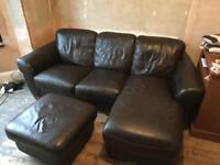 3 seater leather sofa with footrest