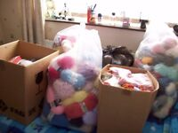Bags and boxes of knitting wool